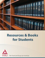 Resources & Books for Students - Food and Drug Law Institute