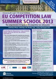 EU CompETiTion LAw SUmmEr SChooL 2013 - Bristows
