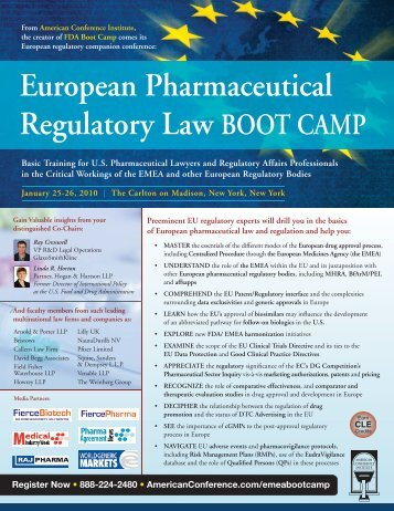 European Pharmaceutical Regulatory Law BOOT CAMP - Bristows