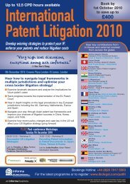 Annual Conference - International Patent Litigation 2010 - Bristows