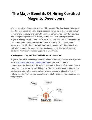 The Major Benefits Of Hiring Certified Magento Developers