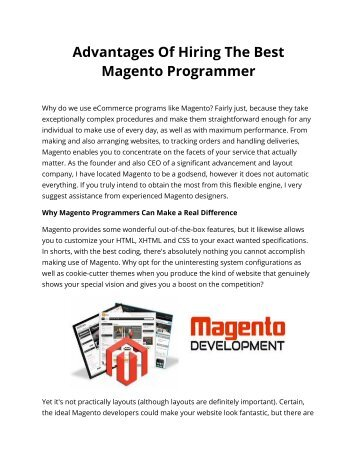 Advantages Of Hiring The Best Magento Programmer