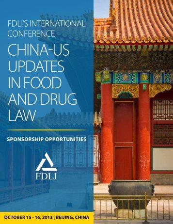 2013 Sponsorship Package - Food and Drug Law Institute