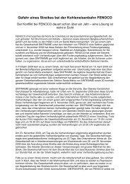 Gefahr eines Streikes bei der Kohleneisenbahn FENOCO - MultiWatch