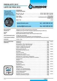 PREISLISTE 2012 LISTE DE PRIX 2012 -  Trivent AG