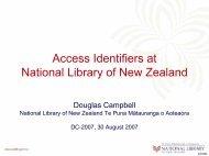 Access Identifiers at NLNZ - Dublin Core® Metadata Initiative
