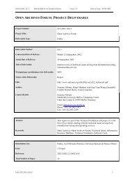 Project deliverable - Open Archives Forum