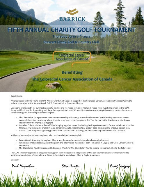 Fifth Annual Charity Golf Tournament Colorectal Cancer Association