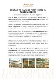 CONRAD TO MANAGE FIRST HOTEL IN SOUTH AMERICA - Hilton
