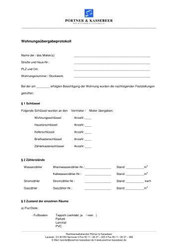 Wohnungsübergabeprotokoll der Rechtsanwalt - poertner ...