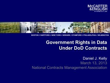 Government Rights in Data Under DoD Contracts - McCarter ...