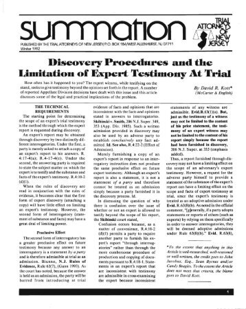 Limitation of Expert Testimony At Trial - McCarter & English, LLP