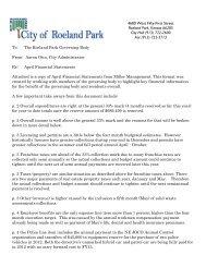 Treasurer Report and Cover Memo April 2012 - City of Roeland Park