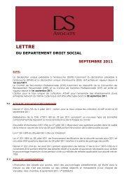 lettre du departement droit social septembre 2011 - DS Avocats