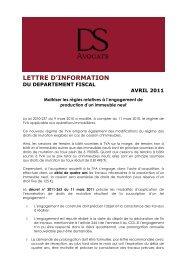 LETTRE D'INFORMATION - DS Avocats