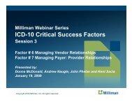 ICD-10 Critical Success Factors - Milliman