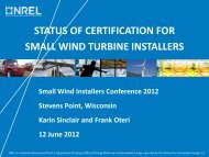 status of certification for small wind turbine installers