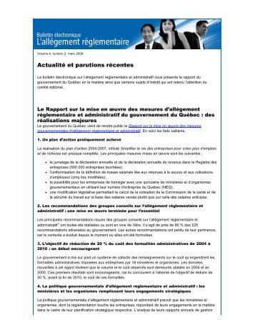 Volume 4 numéro 2 - Finances - Gouvernement du Québec