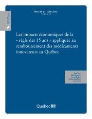 Les impacts économiques de la « règle des 15 ans ... - Finances