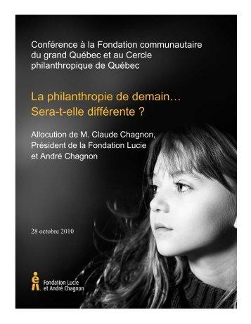 Discours - Fondation Lucie et André Chagnon