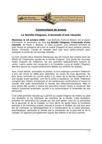Lancement de la biographie de la famille Lucie et André Chagnon