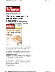 Mieux manger pour le plaisir et la santé - Fondation Lucie et André ...