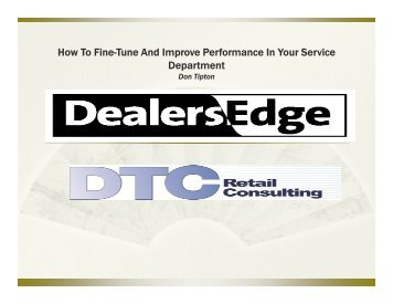 How To Fine-Tune And Improve Performance In Your ... - DealersEdge