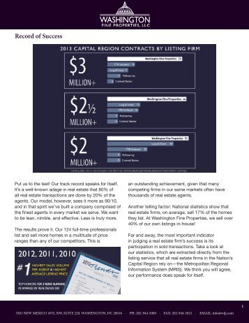 Record of Success - Washington Fine Properties