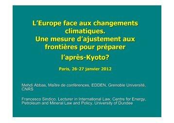 Droit de l'OMC et mesures d'ajustement aux frontières - CERIC