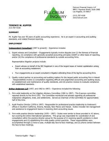 TERENCE W. KUPFER - Fulcrum Inquiry