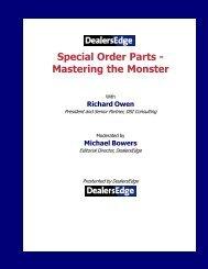Special Order Parts - Mastering the Monster - DealersEdge