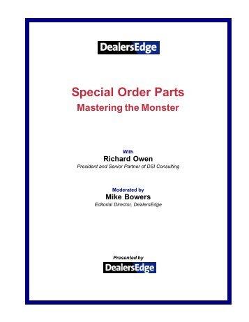 Special Order Parts - DealersEdge