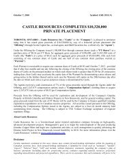 castle resources completes $10320000 private placement