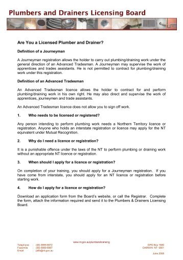 Are You a Licensed Plumber and Drainer? - Plumbers and Drainers ...