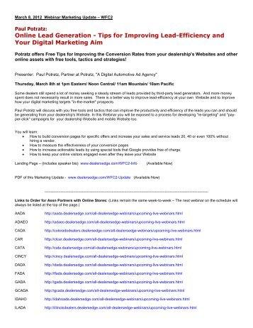 Online Lead Efficiency - DealersEdge