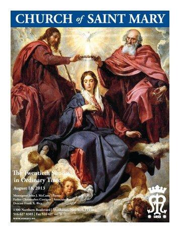 Sunday, August 18, 2013 - St. Mary's Roman Catholic Church