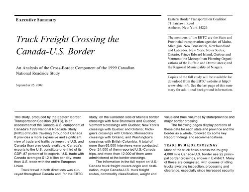 Executive Summary Truck Freight Crossing the Canada-US Border