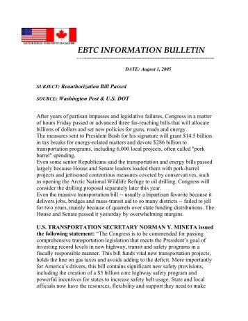 EBTC INFORMATION BULLETIN