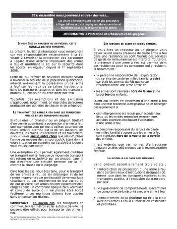 Information à l'intention des chasseurs et des piégeurs - Loi visant à ...