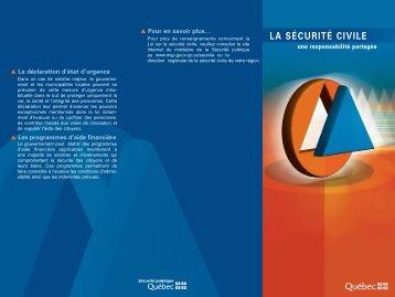 La sécurité civile une responsabilité partagée - Ministère de la ...