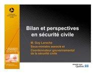 Bilan et perspectives en sécurité civile - Ministère de la Sécurité ...