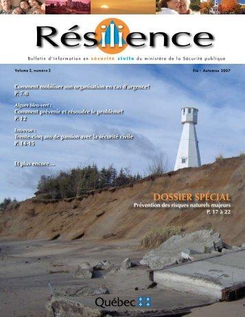 Volume 2, n o 2, été-automne 2007 - Ministère de la Sécurité publique