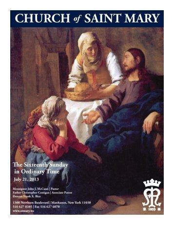 Sunday, July 21, 2013 - St. Mary's Roman Catholic Church