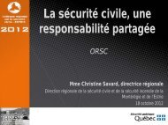 La sécurité civile, une responsabilité partagée - Ministère de la ...