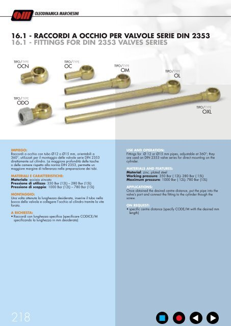 fittings for valves mounting raccordi per il montaggio delle valvole