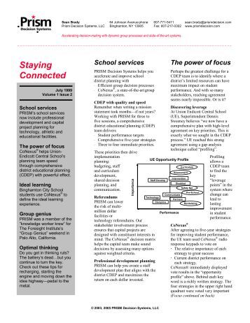 Newsletter Volume 2, Issue 1 Education Edition - Prism Decision ...