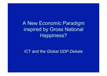 A New Economic Paradigm inspired by Gross National ... - PARADISO