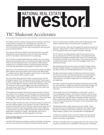 TIC Shakeout Accelerates - FORT Properties