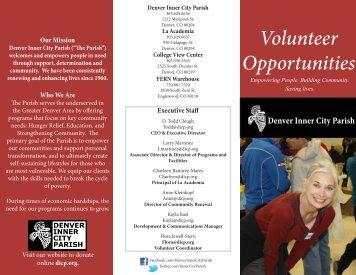 Volunteer Brochure - Denver Inner City Parish