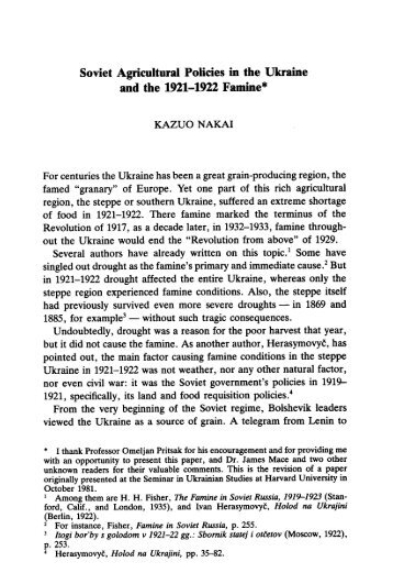 Soviet Agricultural Policies in the Ukraine and the ... - Paul Bogdanor